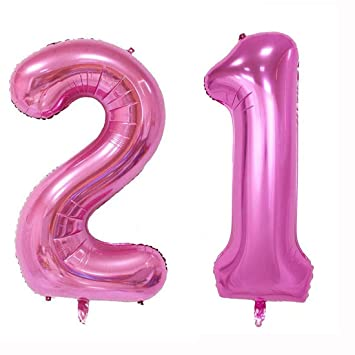 40inch Jumbo Rose Pink Foil Helium Digital Number Balloons Girls 21st Birthday Balloon Decoration For