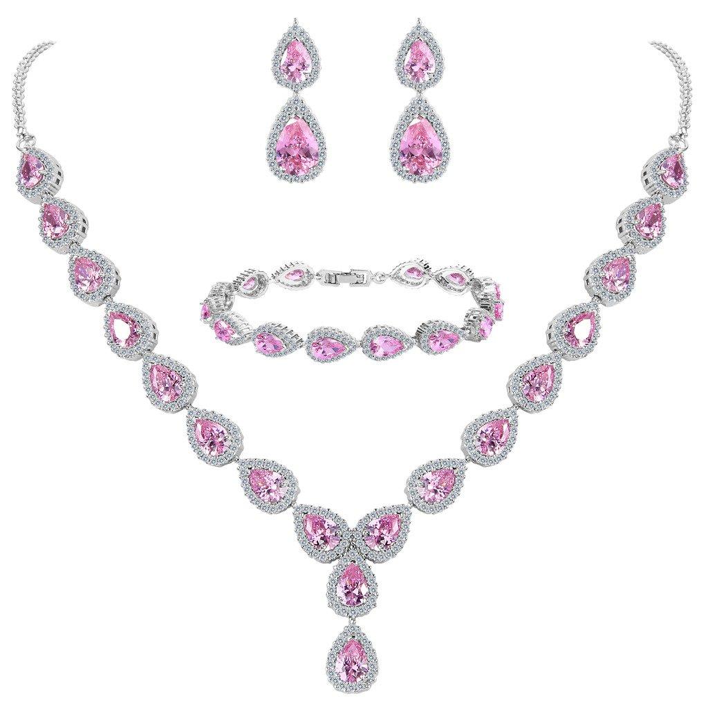BriLove Women's Wedding Bridal Teardrop CZ Infinity Figure 8 Y-Necklace Tennis Bracelet Dangle Earrings Set 12001497-1ca