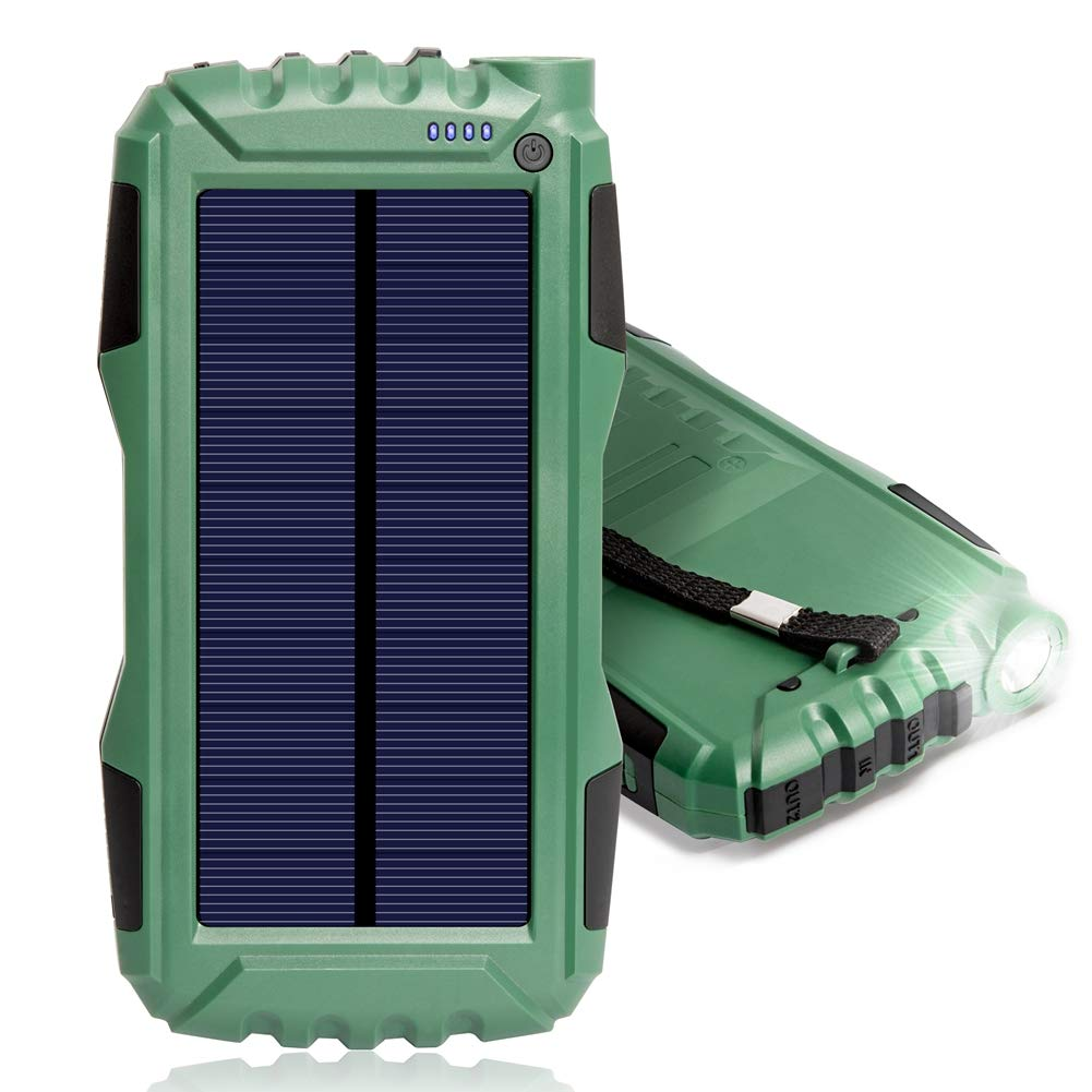 Solar Charger, Zonhood 25000mAh Power Bank Solar Phone Charger, Portable External Battery Pack with Dual USB Ports and LED Light Shockproof/Dustproof for Smartphones and More (N-Army Green)