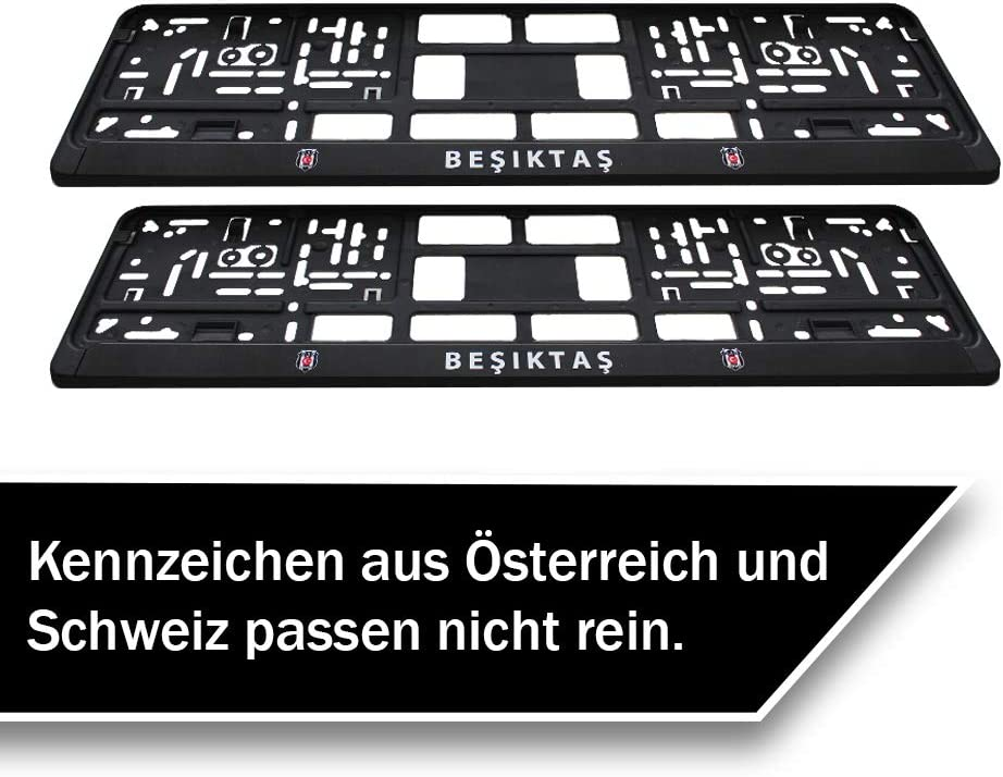 Besiktas Kara Kartal Kennzeichenhalter Premium Nummernschildhalterung Für Eu Auto Kennzeichen 52 X 10 Cm 2 Stück Stabile Halterung Für Kfz Nummernschilder Kennzeichenhalterung Auto