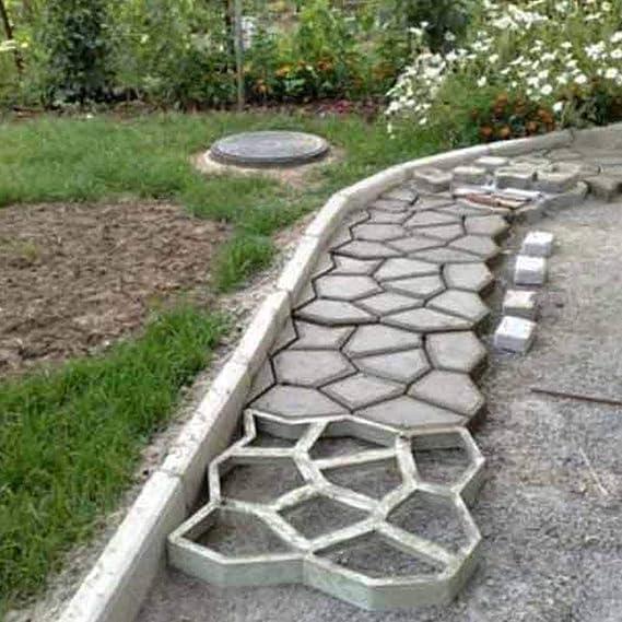 Molde de pavimento para jardín, molde para hormigón, reutilizable, irregular para hacer escalones, piedra, pavimento, césped, patio, patio: Amazon.es: Bricolaje y herramientas