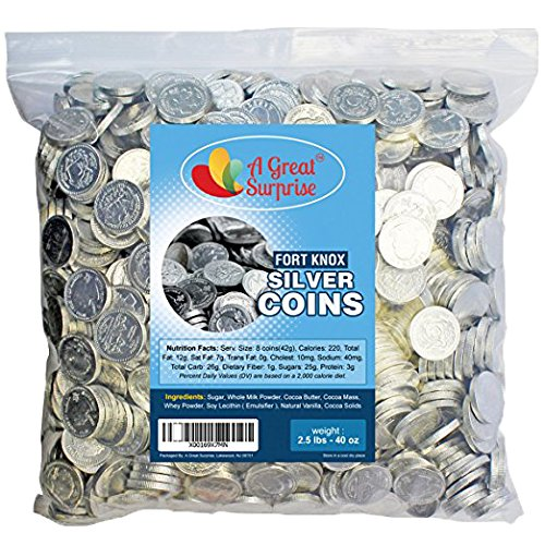 Chocolate Silver Coins - Fort Knox Chocolate Coins, Silver, Milk Chocolate 2.5 LB Bulk Candy