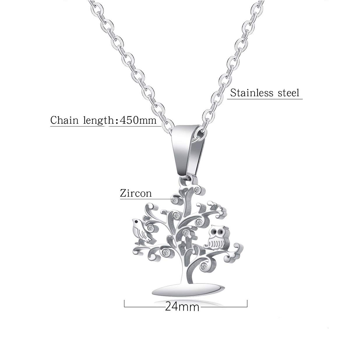 Zzred Stainless Steel Tree of Life Bird Zircon Pendant Necklace for Women Gift Family Jewelry