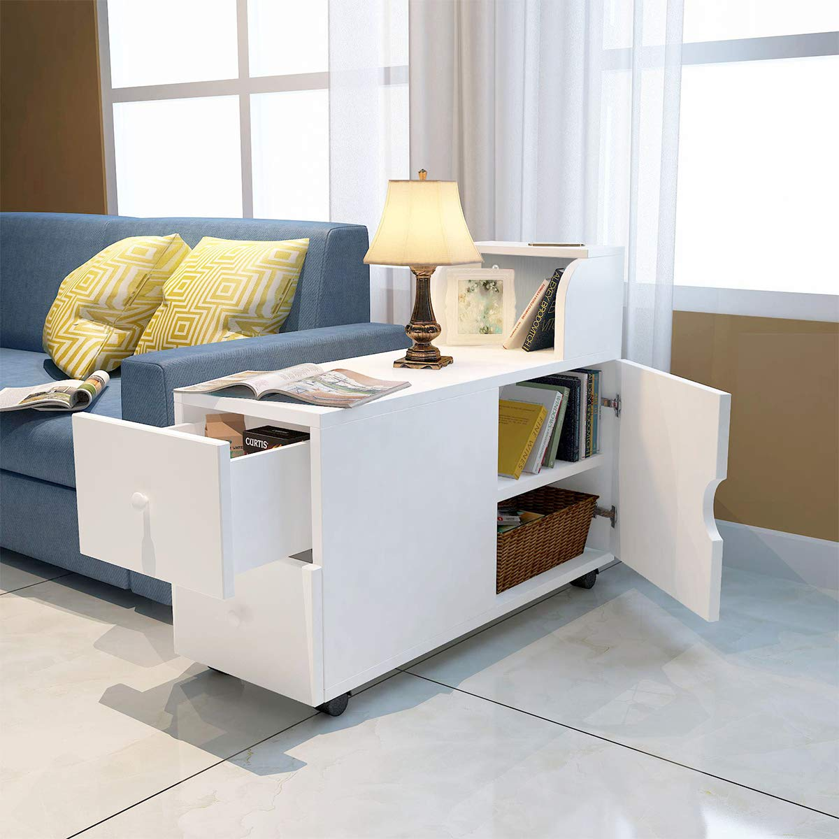 Modern End Table, White Side Table Chair Side Table Nightstand with Storage  Shelf Bookshelf Drawer for Living Room Bedroom Office with Wheels