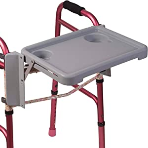 Duro-Med DMI Universal Folding with Two Cup Holders and Tool Free Setup Walker Tray 1 Count