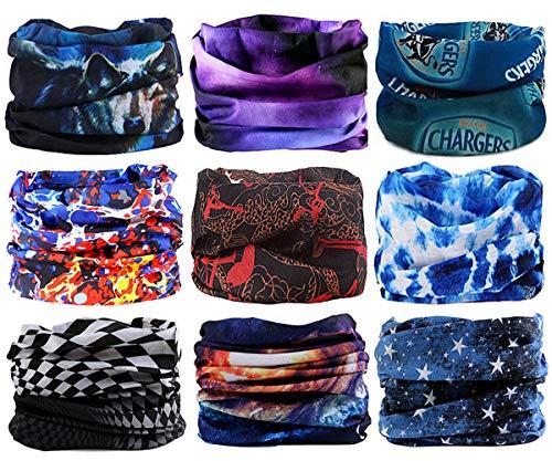 (WharFlag Sports Headband Bandana - Outdoors Headwear, Wide Headband, Multifunctional Headwear, Causual Headwear Seamless Bandana Breathable Headband Headwrap for Women Men (9pcs-Star Technology))