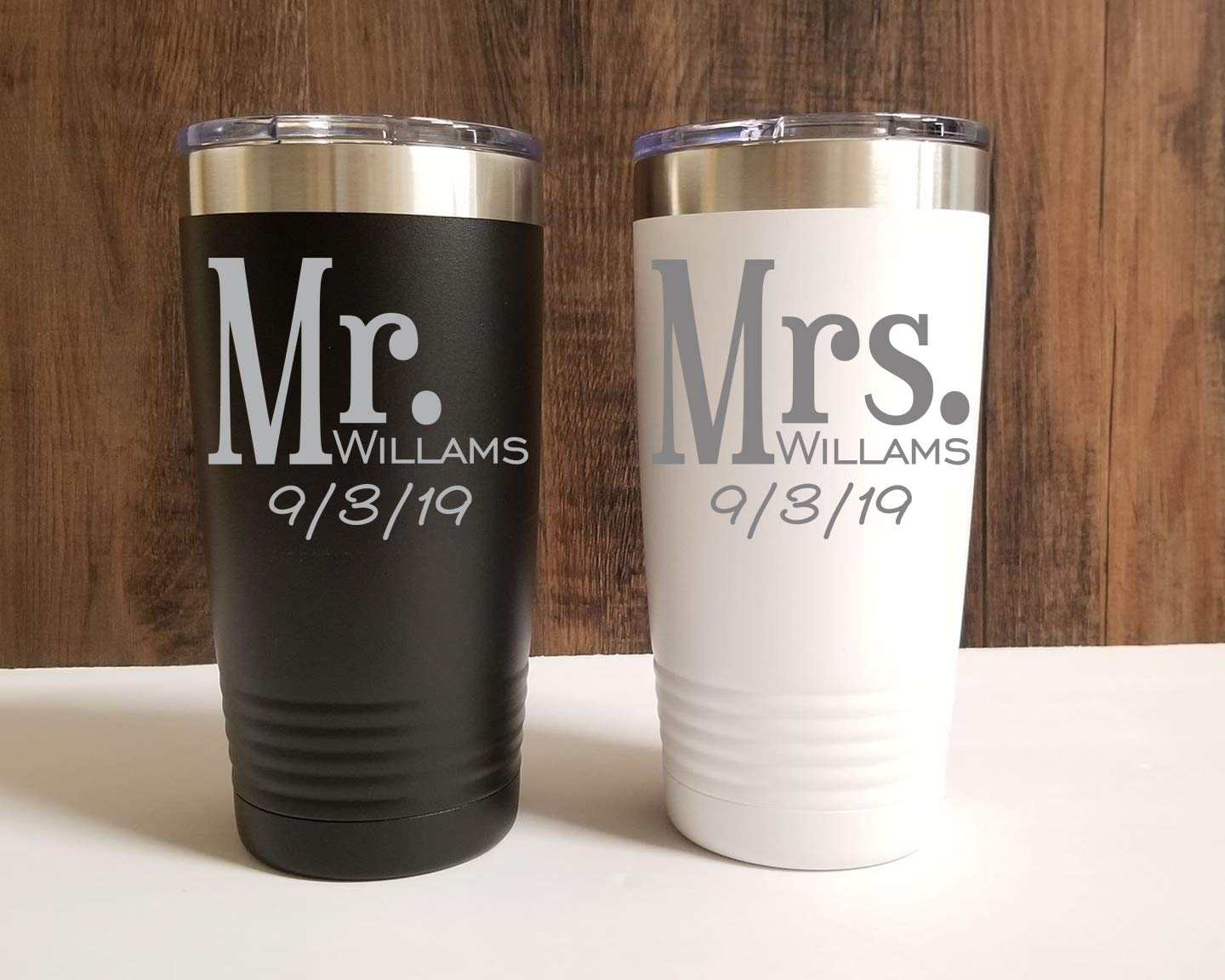 33ee0a46845 Mr and Mrs Personalized Stainless Steel Tumbler Set- 20 oz OR 30 oz
