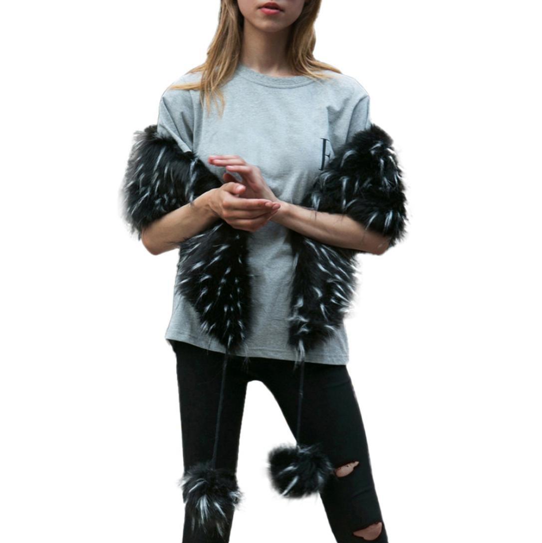 SUKEQ New Womens Elegant Charming Faux Fur Collar Scarf Scarves Winter Warm Parka Shawl Wrap Scarf (Black)
