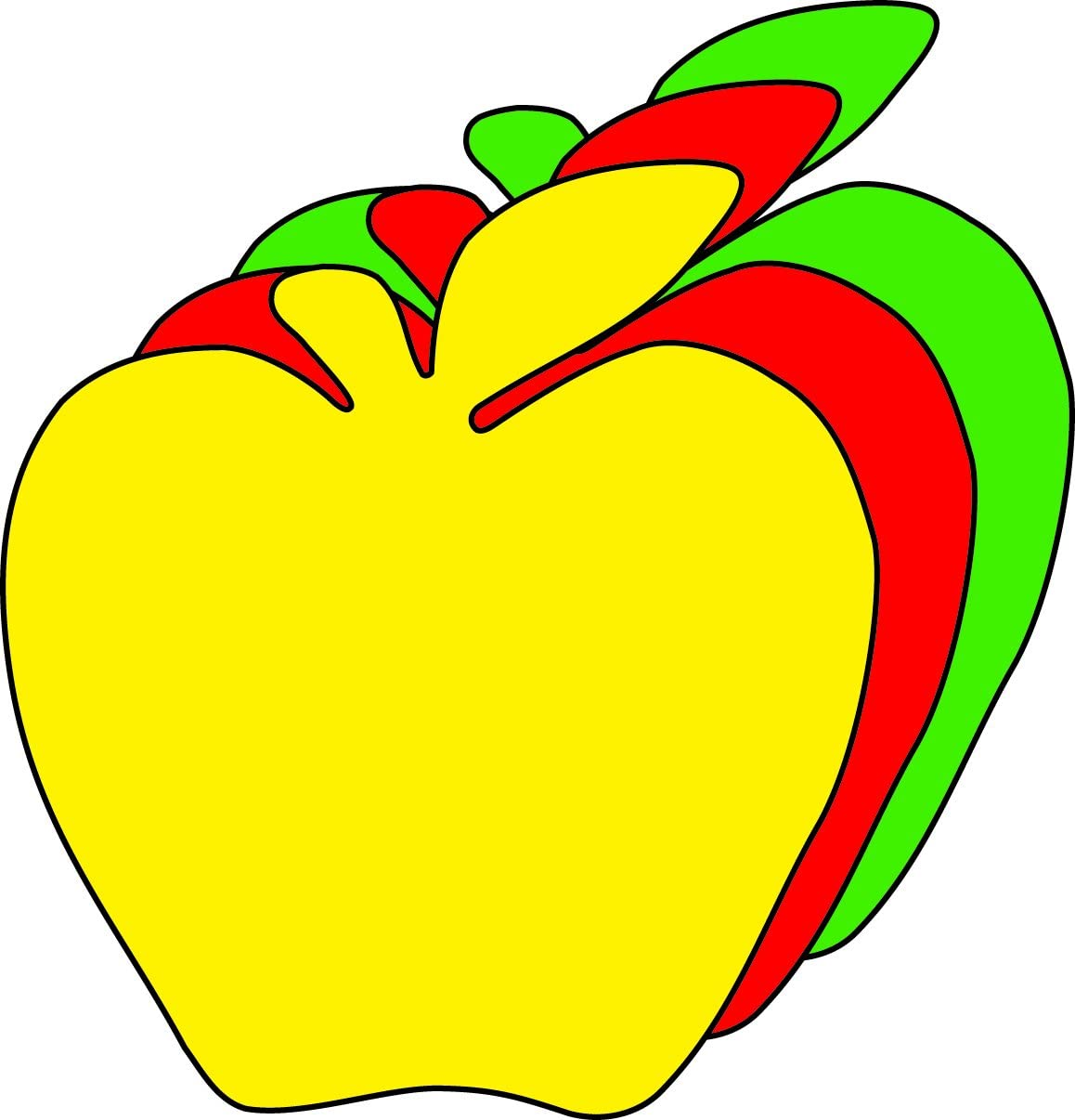 """3"""" Apple Tri-Color Creative Cut-Outs, 31 Cut-Outs in a Pack for Fall Projects, Decorations, Learning Games, Classroom, Kids' School Craft Projects"""