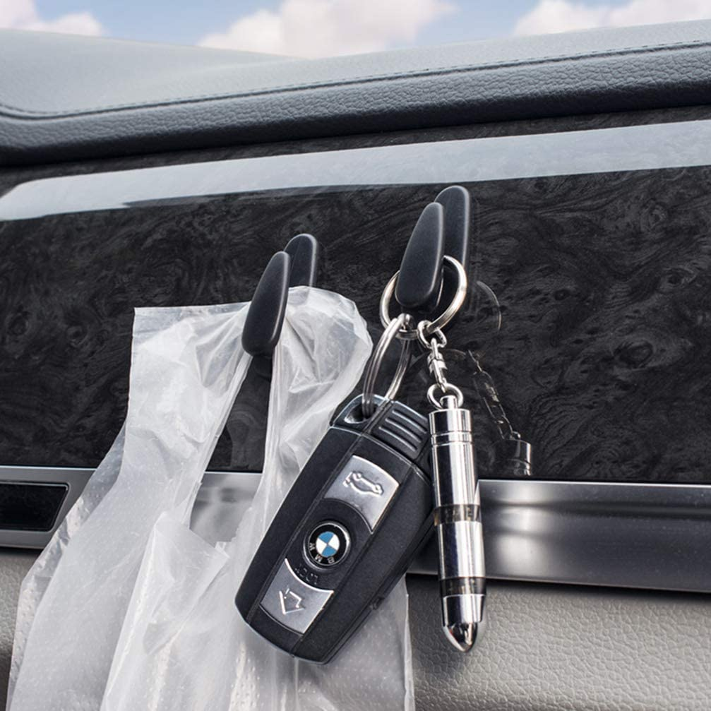 Wakauto 8Pcs Car Headrest Hooks Self-Adhesive Vehicle Back Seat Hooks Instrument Hanger Seat Organizer for Handbags Purses Key Beige