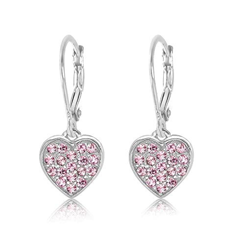 40a8f738c New Kids Earrings 925 Sterling Silver White Gold Tone Classic Clear Crystal  Heart