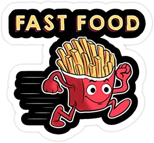 DKISEE 3 PCs Stickers Cute and Funny Fast Food Running French Fries Punny - 4 inches Die-Cut Wall Decals for Laptop Window Car Bumper Water Bottle
