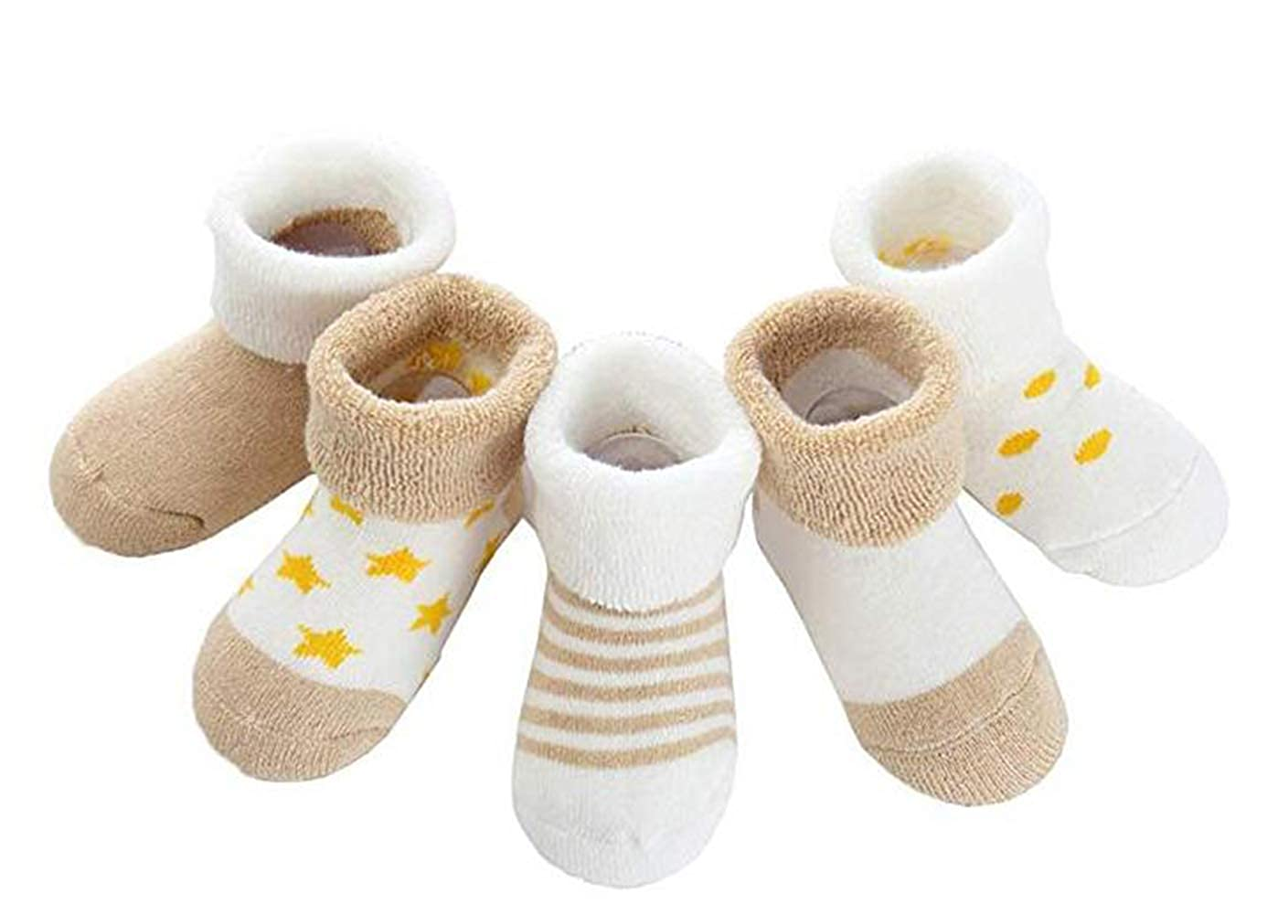 JXUFUFOO Baby Infant Anti-slip Socks Cotton Thick Warm Pack of 5