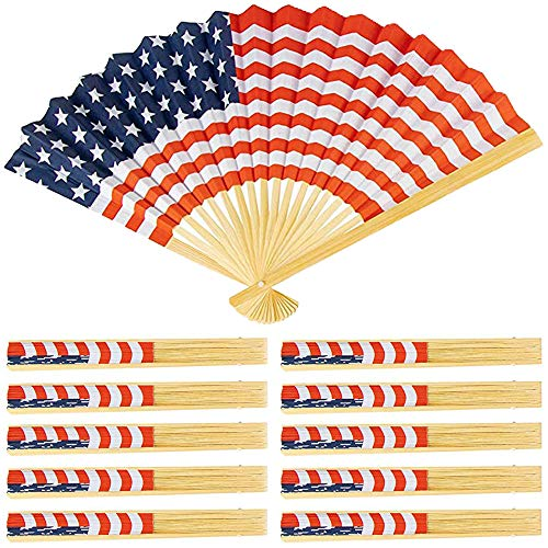 American Flag USA Folding Hand Fans,Fourth of July Give Away Paper and Wood - 10