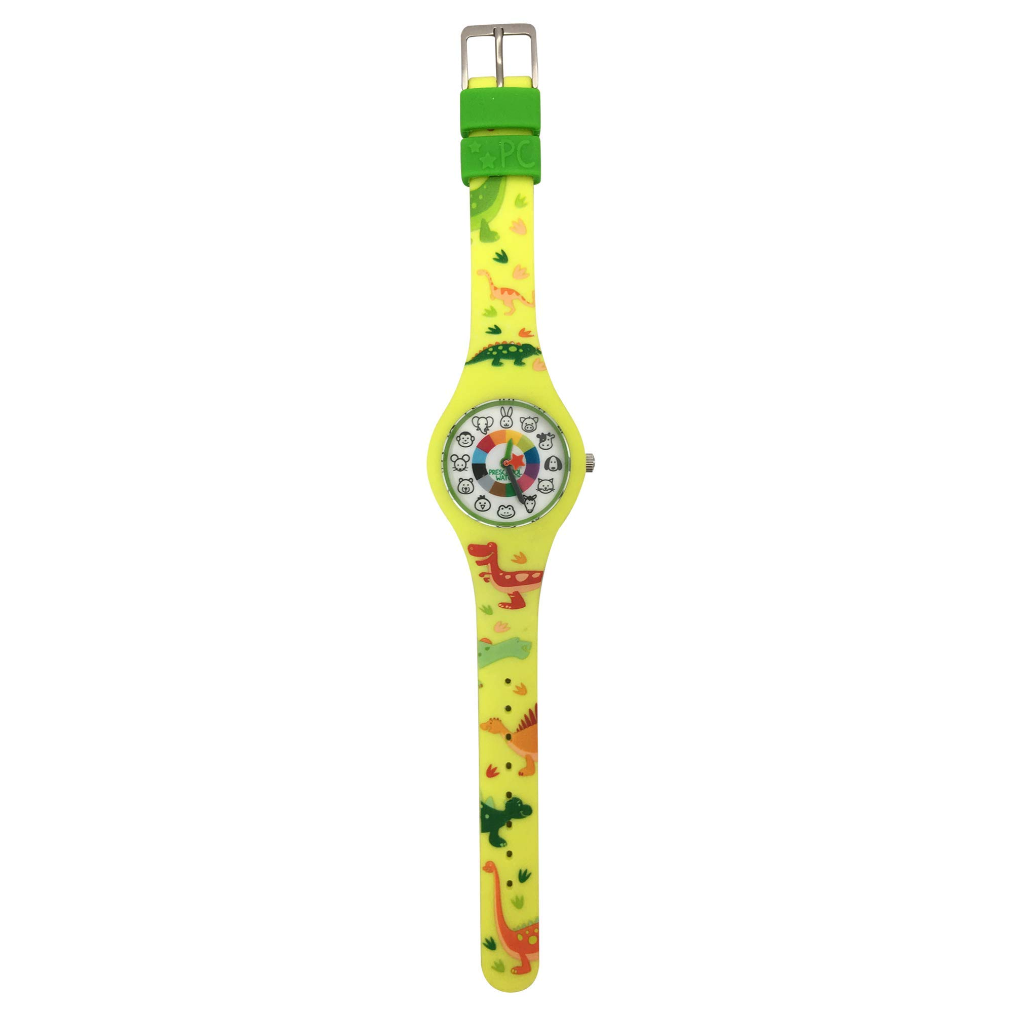 Dinosaur Preschool Watch - The Only Analog Kids Watch Preschoolers Understand! Quality Teaching time Silicone Watch with Glow-in-The-Dark Dial & Japan Movement by PRESCHOOL COLLECTION (Image #3)