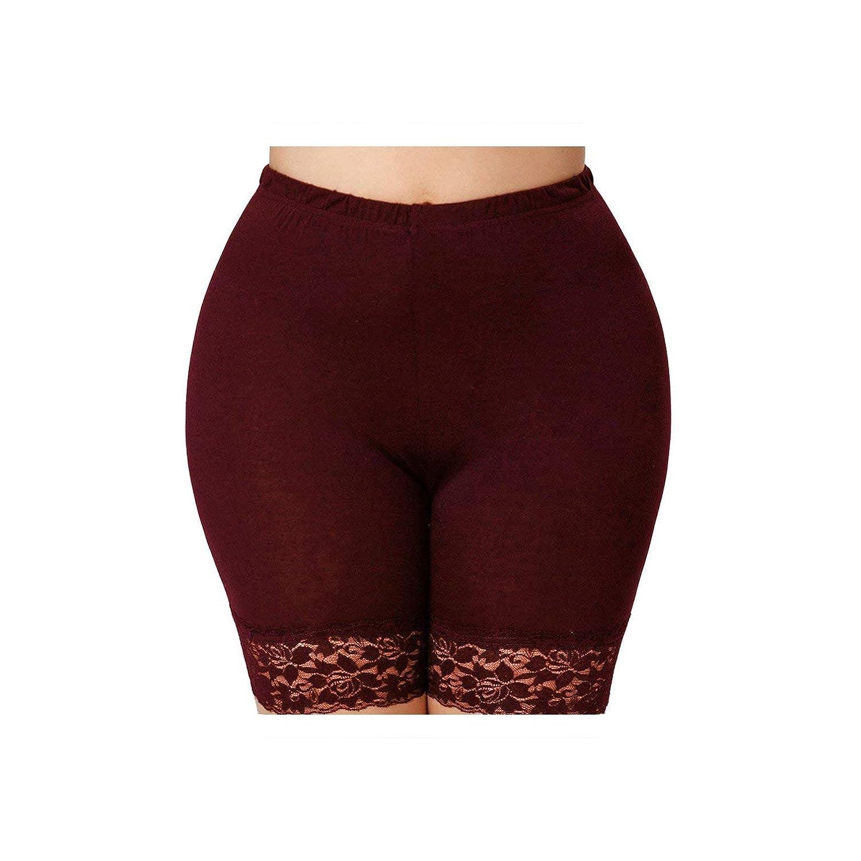 Safety Shorts Women Plus Size Solid Color Lace Trim Shorts Pants