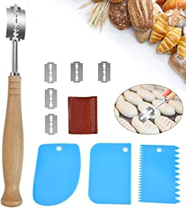 Bread Lame & Dough Scraper Set, Ovelur Dough Making Slasher Tools for Bread Bakers with 5 Replaceable Blades & Protective Cover, 3 Pack Food-safe Dough Scraper