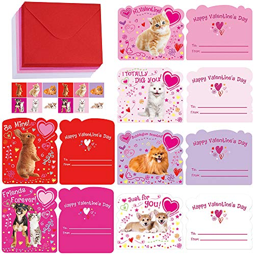 - Supla 30 Set 6 Desgin Valentine's Day Dog Cat Rabbit Greeting Cards Pet Gift Exchange Cards To From Cards and White Red Rosy Pink Envelopes and Stickers for Classroom Valentines Favors Kids Gift Swap
