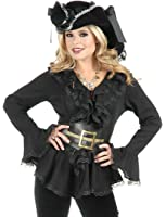 Womens South Seas Pirate Black Shirt Blouse