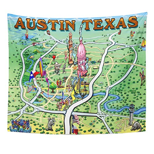 Semtomn Tapestry Artwork Wall Hanging Austin Texas Cartoon Map 50x60 Inches Home Decor Tapestries Mattress Tablecloth Curtain Print (Map Cartoon Texas)