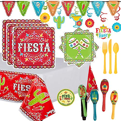 Mega Fiesta Party Supplies Pack and Decorations For 32 With Plates, Napkins, Tablecover, MINI Maracas, Cutlery, Swirl Decorations, Fiesta Pennant Banner, and Exclusive Fiesta Pin By Another Dream