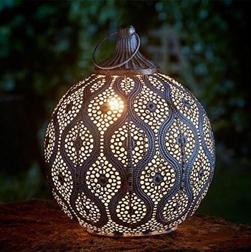 Homezone Vintage Marocain Filigranes Lanterne Lumières Grand 25cm Extérieur Table Lanterne Oriental Extérieur Jardin pendant Lanternes pour Bougie