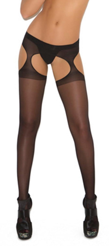 Transparente Damenstrumpfhose in Strapsen-Design in rot, weiß, schwarz oder hautfarben, als Einheitsgröße und in Übergröße. - - Gr. xl, schwarz weiß EM1712