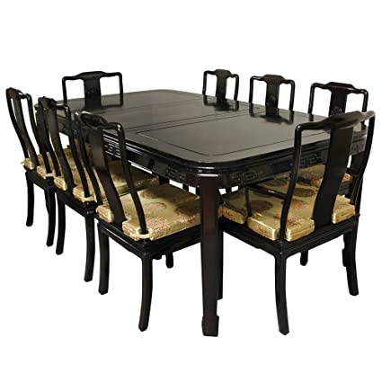 Amazon.com - ORIENTAL FURNITURE Rosewood Dining Room Set - Rosewood ...