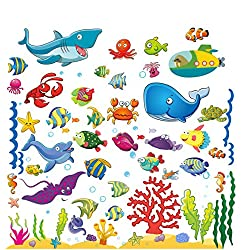 Wall Stickers with Under The Sea Design, Peel and Stick Deep Blue Sea Fish Vinyl Decals, Ocean Under Water Removable Wall Art Mural for Kids' Bathroom, Toddlers' Bedroom and Nursery Rooms (4 Sheets)