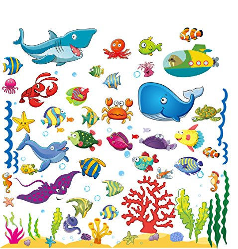 Wall Stickers with Under The Sea Design, Peel and Stick Deep Blue Sea Fish Vinyl Decals, Ocean Under Water Removable Wall Art Mural for Kids
