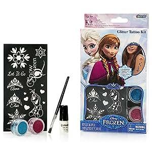 Disney frozen glitter tattoo kit with stencils for Glitter tattoo glue
