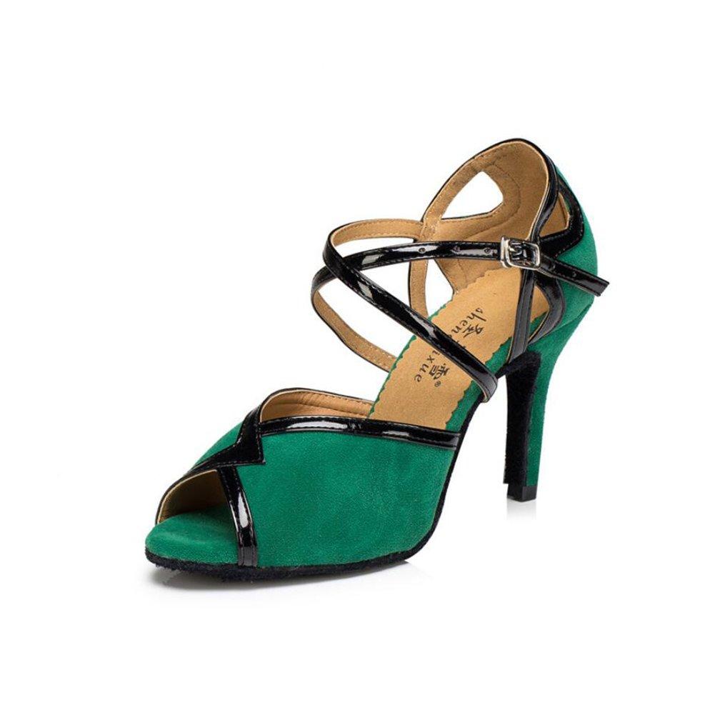 XUE Damen Latin Schuhe Ballroom Schuhe Wildleder Ferse Schnalle Ferse Tanzschuhe Grün Party & Abend (Farbe   EIN Größe   40)