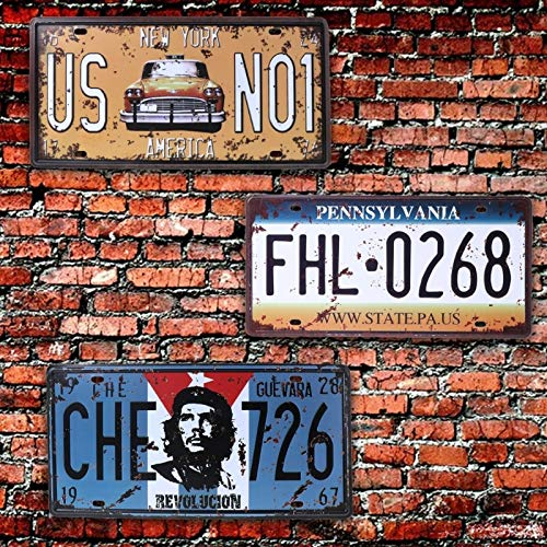 USA Vintage Metal Tin Signs Route 66 Car Number License Plate Plaque Poster Bar Club Wall Garage Home Decoration 16 30cm