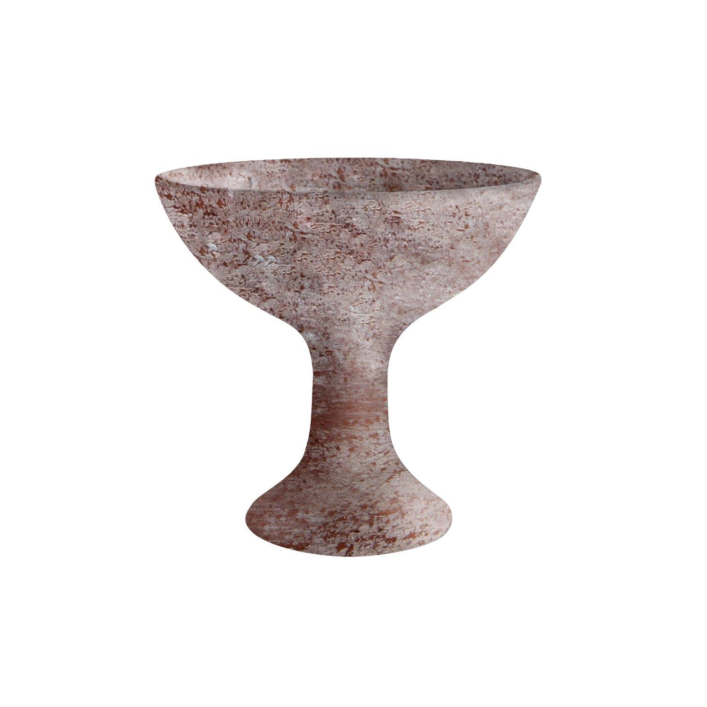 Bitto Coppa per incensi Medan in Terracotta con Manico Bianco Calce, H: 15 cm, Ø 10 cm