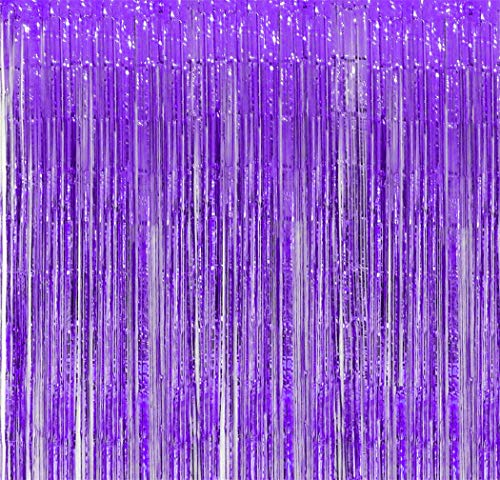 Purple Foil Fringe Backdrop - Pack of 4 | Shiny Metallic Tinsel Foil Curtain | Ideal for Bridal Shower, Wedding, Birthday, Christmas, New Year | Door Windows Wall Decoration