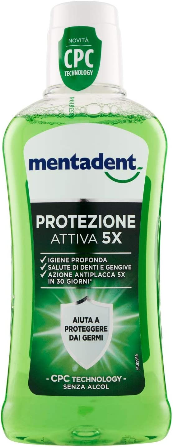 Mentadent Protezione Attiva 5X Collutorio Con Cpc Technology - 400 ml:  Amazon.it: Salute e cura della persona