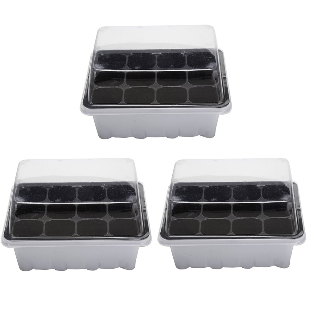 BESTIM INCUK Seed Trays Propagator Seed Starter Kit with Humidity Dome and Base for Seed Germination, 36 Cells, 3 Trays, 12-Cell Per Tray