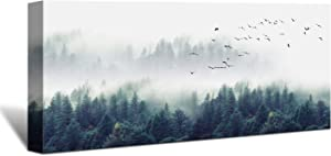 Looife Canvas Prints Wall Art, 32x16 Inch Blue Misty Forest Wall Decor, Colorful Painting Giclee Artwork Home Decoration for Living Room and Bedroom