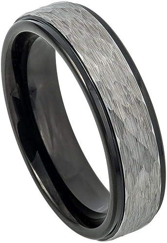 2-Tone Black IP Stepped Edge Comfort Fit Tungsten Carbide Anniversary Ring TosowebOnline Unisex 6mm Hammered Finish