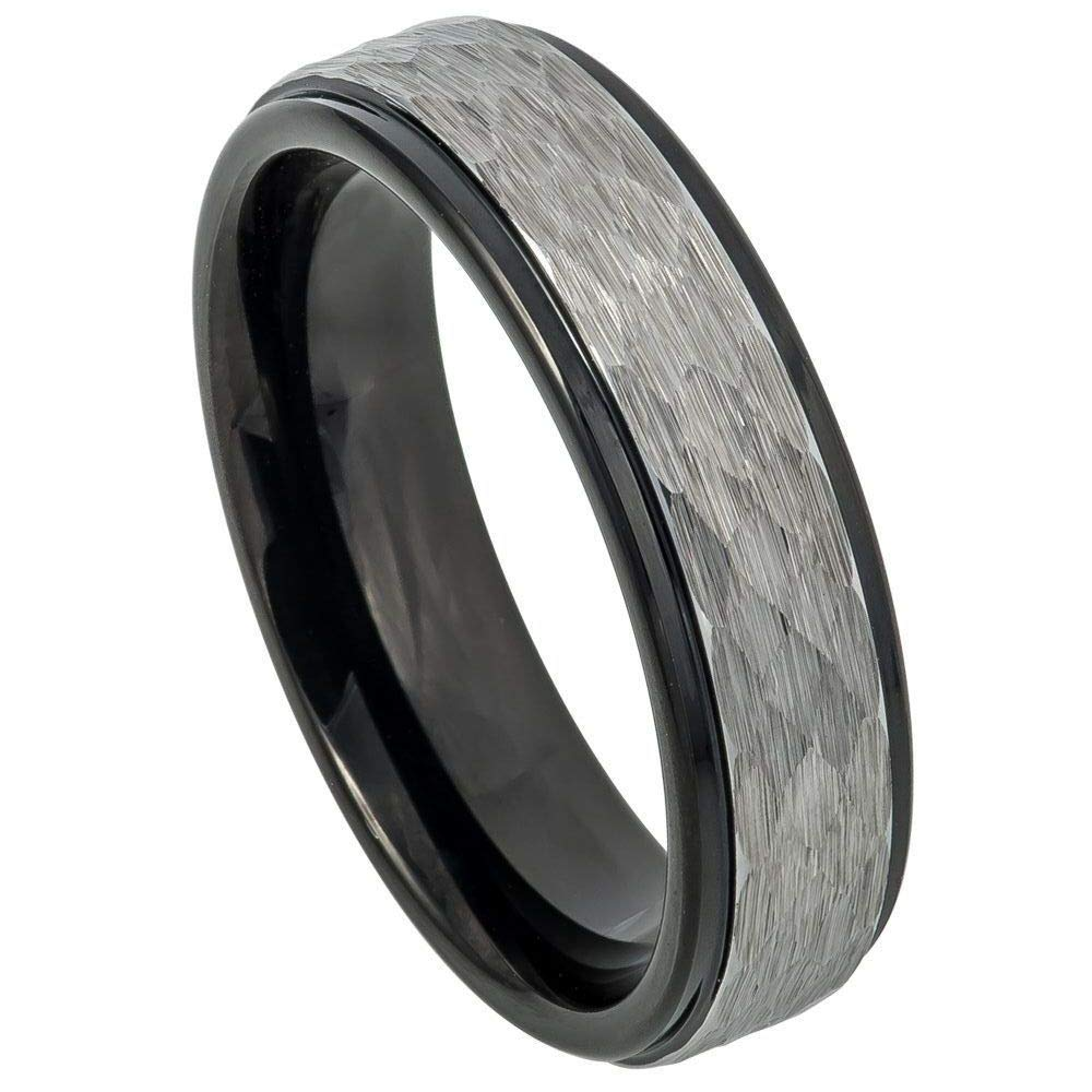 TosowebOnline Unisex 6mm Hammered Finish 2-Tone Black IP Stepped Edge Comfort Fit Tungsten Carbide Anniversary Ring