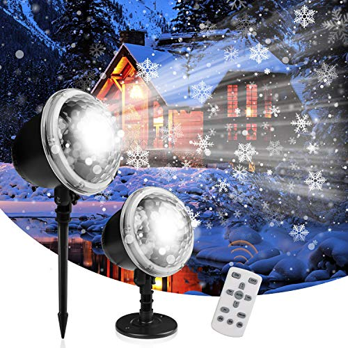 Christmas Project Lights, Henscoqi Snowfall Holiday Lights, 2 in 1 Indoor Outdoor Decorative Landscape Lights Waterproof IP65 with Remote Controller for Wedding Birthday Garden (Pattern Moved)