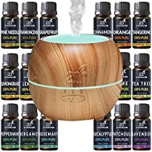 ArtNaturals Aromatherapy Essential Oil and Diffuser Set - 150ml & Top 16 - Peppermint, Tee Tree, Rosemary, Orange, Lemongrass, Lavender, Eucalyptus, & Frankincense - Auto Shut-off and 7 Color LED Lights – Therapeutic Grade