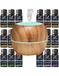 Art Naturals Essential Oil Diffuser 100ml & Top 16 Essential Oil Set - Peppermint, Tee Tree, Rosemary, Orange, Lemongrass, Lavender, Eucalyptus, & Frankincense - Auto Shut-off and 7 Color LED Lights