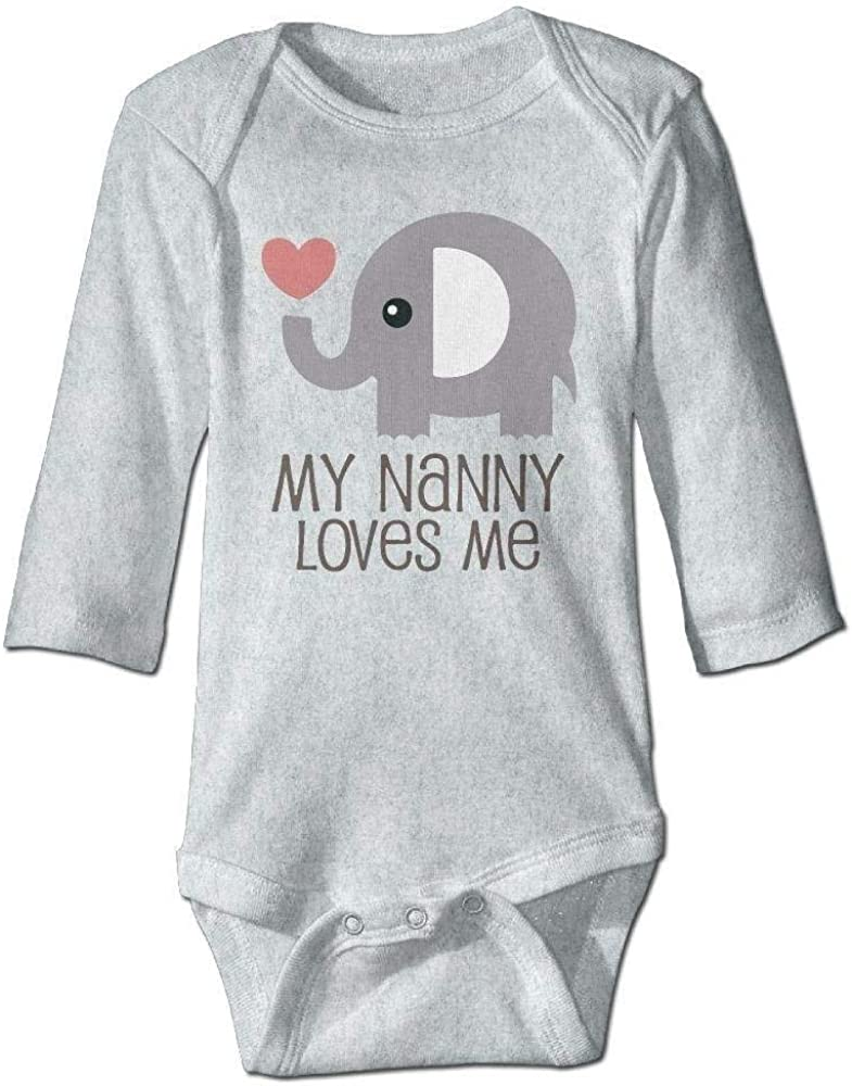 IconSymbol Baby Elephant Baby My Nanny Loves Me Long Sleeve Romper Onesie Bodysuit Jumpsuit