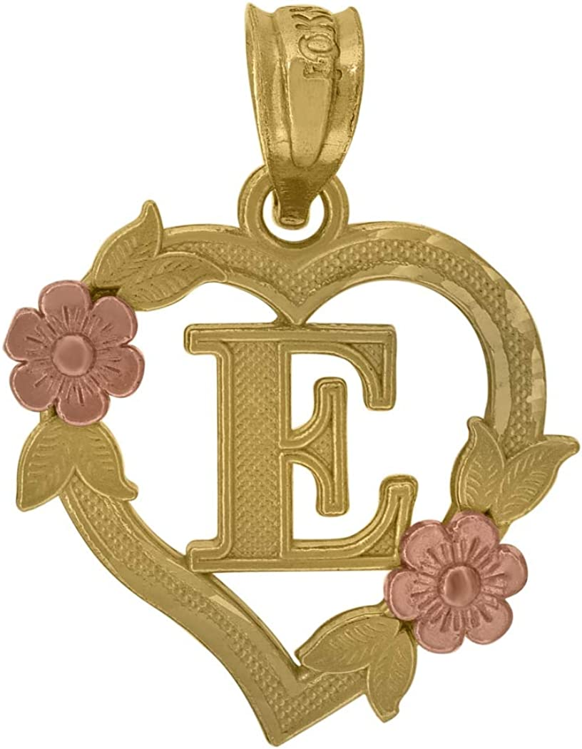 Measures 19.6x15.30mm Wide 10k Two-tone Gold Womens Heart Flower Initial Letter E Charm Pendant