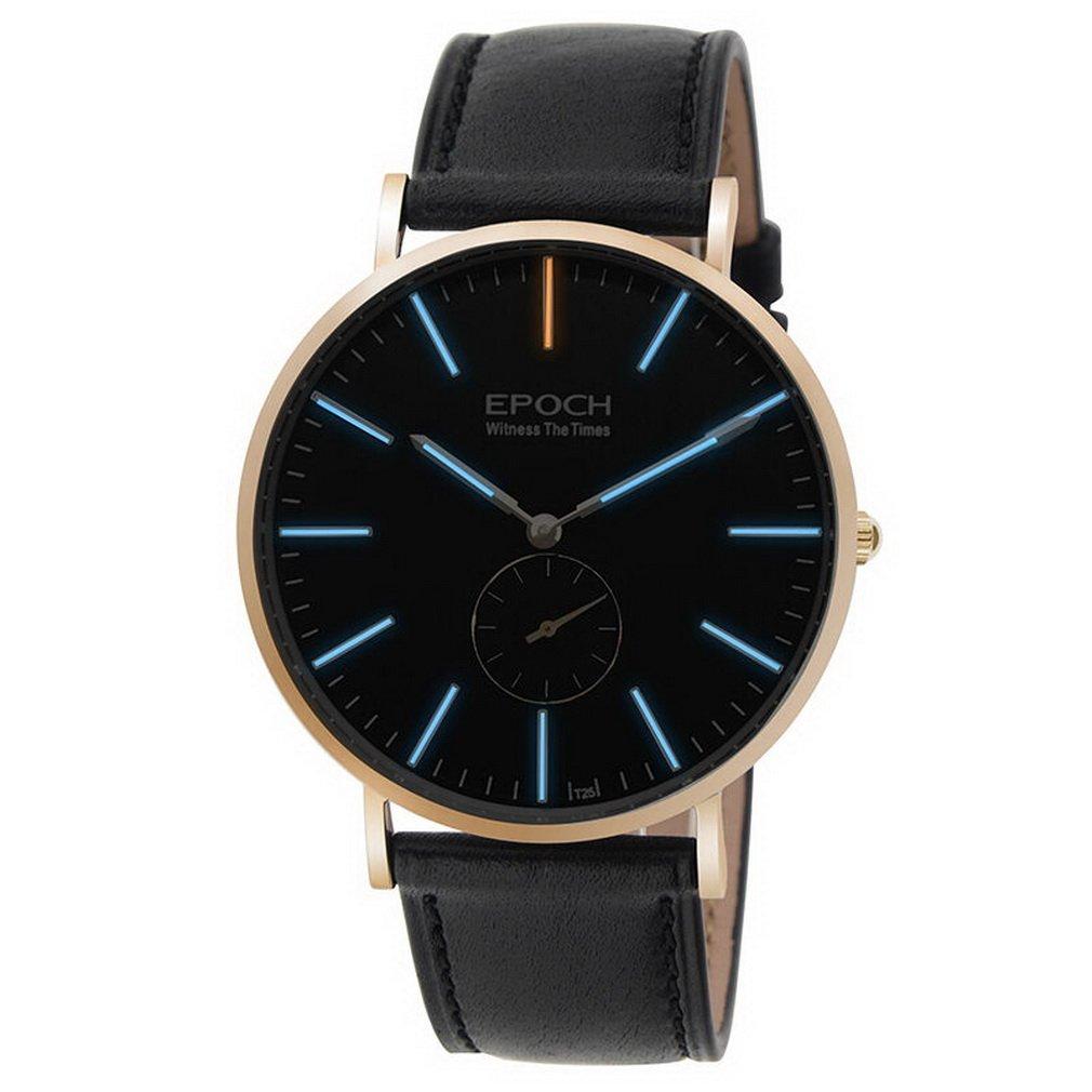 EPOCH 6025G waterproof 50m tritium blue luminous ultrathin case leather strap business men quartz wrist watch - Rosegold
