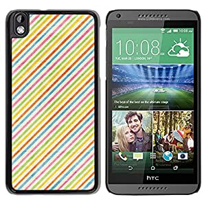 Qstar Arte & diseño plástico duro Fundas Cover Cubre Hard Case Cover para HTC DESIRE 816 ( Stripes Colorful Rainbow Wallpaper Red)