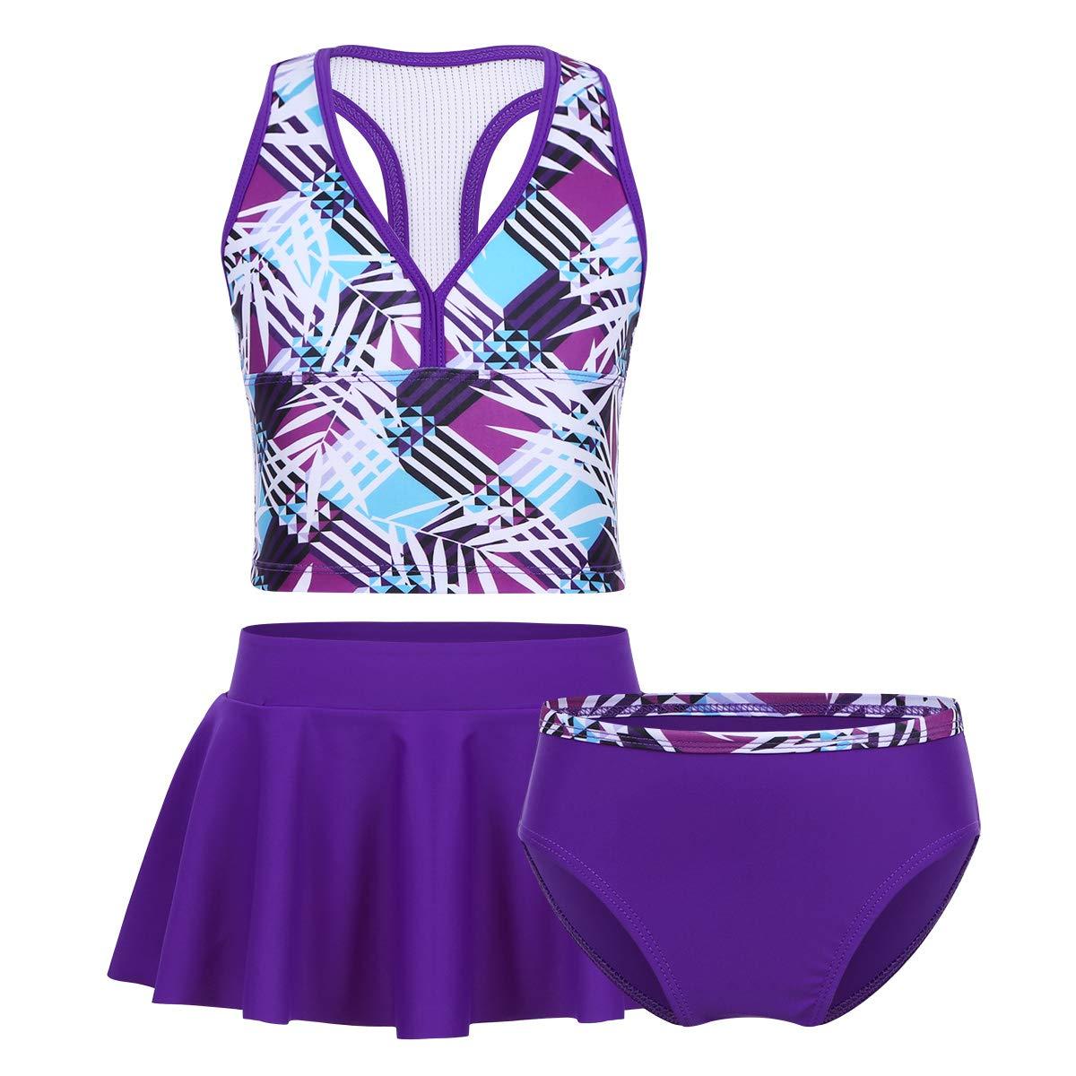 Freebily Teens Girls 3Pcs Tankini Swimsuit Boyshort Top Bottom Set Kids Floral Printed Summer Beach Swimwear