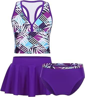 Mufeng Kids Girls 3 Pieces Swimsuit Swimwear Fanshion Bikini Tankini Set Tank Tops and Hipster Bottoms Swim Skirt Set