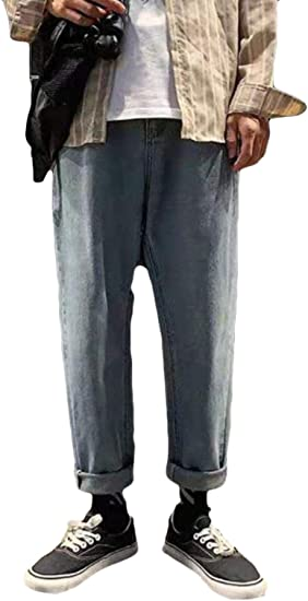YiTongデニムパンツ メンズ ゆったり 厚手 ストレートパンツ ワイドパンツ 秋 冬 韓国風 オシャレ Gパン ジーンズ オシャレ 韓国風 ファッション